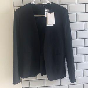 Theory black open front longsleeve blazer.
